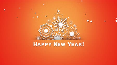 glorious : Animated closeup Happy New Year text, white snowflakes on orange background. Luxury and elegant dynamic style template for winter holiday