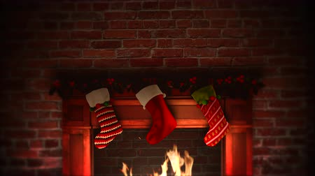şömine : Animated closeup fireplace and gifts in the Christmas socks on bricks background. Luxury and elegant dynamic style template for winter holiday Stok Video