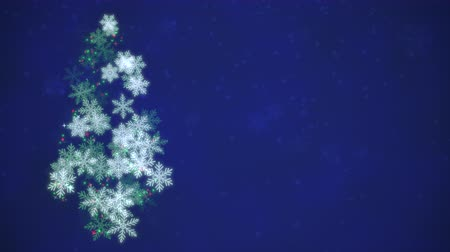 glória : Animated closeup Christmas tree on dark blue background. Luxury and elegant dynamic style template for winter holiday