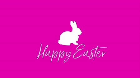 zaproszenie : Animated closeup Happy Easter text and rabbits on pink background. Luxury and elegant dynamic style template for holiday
