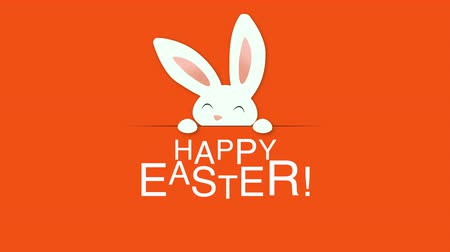 кролик : Animated closeup Happy Easter text and rabbits on orange background. Luxury and elegant dynamic style template for holiday