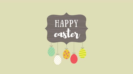 rabbits : Animated closeup Happy Easter text and eggs on green background. Luxury and elegant dynamic style template for holiday