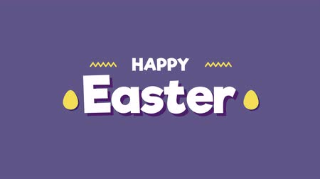 rabbits : Animated closeup Happy Easter text on purple background. Luxury and elegant dynamic style template for holiday