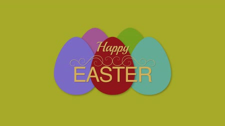 intro template : Animated closeup Happy Easter text and eggs on green background. Luxury and elegant dynamic style template for holiday