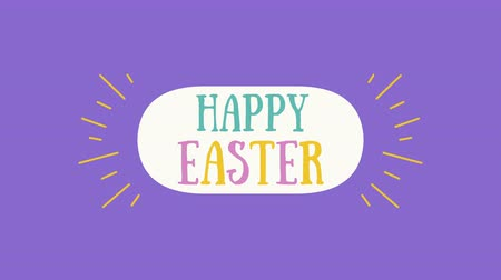 zaproszenie : Animated closeup Happy Easter text on purple background. Luxury and elegant dynamic style template for holiday