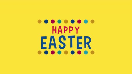 uitnodiging feest : Animated closeup Happy Easter text on yellow background. Luxury and elegant dynamic style template for holiday Stockvideo
