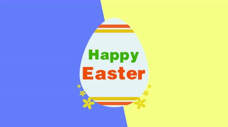 uitnodiging feest : Animated closeup Happy Easter text and egg on yellow and blue vertigo background. Luxury and elegant dynamic style template for holiday Stockvideo