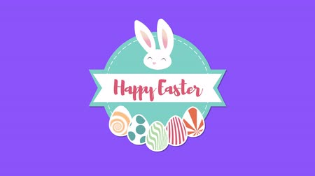 uitnodiging feest : Animated closeup Happy Easter text and rabbit on blue background. Luxury and elegant dynamic style template for holiday Stockvideo