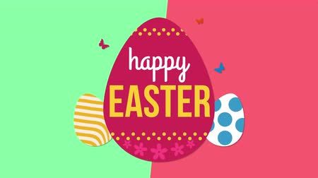 intro template : Animated closeup Happy Easter text and eggs on green and red vertigo background. Luxury and elegant dynamic style template for holiday