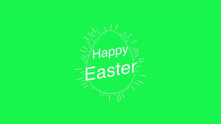 rabbits : Animated closeup Happy Easter text and egg on green background. Luxury and elegant dynamic style template for holiday