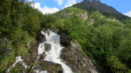 ravina : View waterfall scenes in mountains, national park Dombai, Caucasus, Russia. Summer landscape, sunshine weather and sunny day Stock Footage