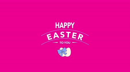 auguri pasqua : Animated closeup Happy Easter text and eggs on pink background. Luxury and elegant dynamic style template for holiday