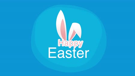 intro template : Animated closeup Happy Easter text and rabbit on blue background. Luxury and elegant dynamic style template for holiday Stock Footage