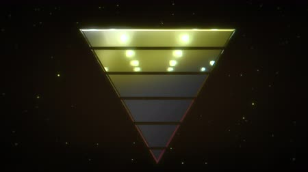 yanılsama : Motion retro yellow triangle abstract background. Elegant and luxury dynamic 80s, 90s style template Stok Video
