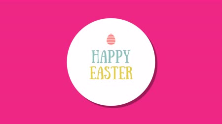 humor : Animated closeup Happy Easter text on red background. Luxury and elegant dynamic style template for holiday