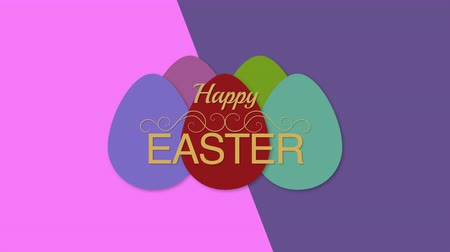 intro template : Animated closeup Happy Easter text and eggs on purple and blue vertigo background. Luxury and elegant dynamic style template for holiday Stock Footage