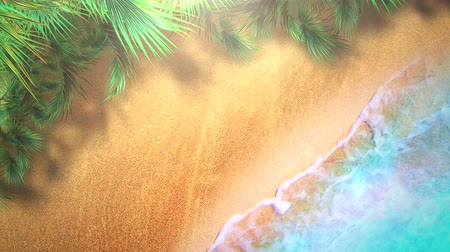 tropy : Closeup sandy beach with blue waves of ocean, summer background. Elegant and luxury dynamic style animation footage