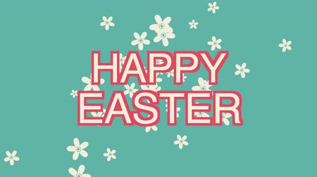 rabbits : Animated closeup Happy Easter text on green background. Luxury and elegant dynamic style template for holiday