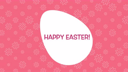 tło retro : Animated closeup Happy Easter text and egg on red background. Luxury and elegant dynamic style template for holiday