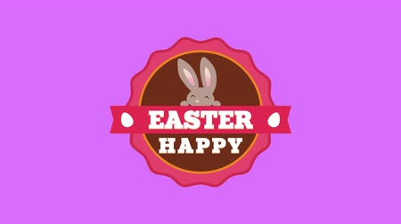 uitnodiging feest : Animated closeup Happy Easter text and rabbit on purple background. Luxury and elegant dynamic style template for holiday