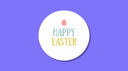 auguri pasqua : Animated closeup Happy Easter text on blue background. Luxury and elegant dynamic style template for holiday