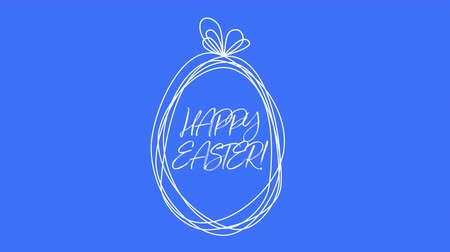intro template : Animated closeup Happy Easter text and egg on blue background. Luxury and elegant dynamic style template for holiday