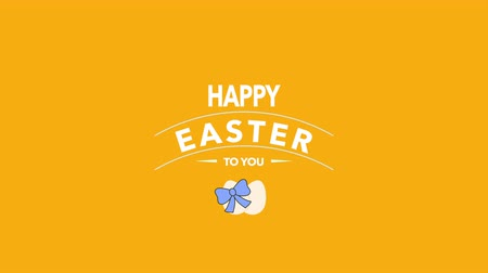 кролик : Animated closeup Happy Easter text and eggs on orange background. Luxury and elegant dynamic style template for holiday