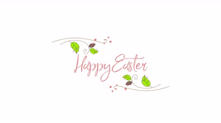 auguri pasqua : Animated closeup Happy Easter text on white background. Luxury and elegant dynamic style template for holiday