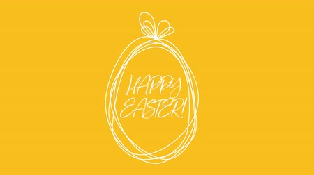 zaproszenie : Animated closeup Happy Easter text and egg on yellow background. Luxury and elegant dynamic style template for holiday Wideo