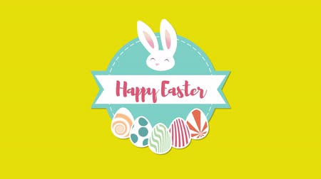 кролик : Animated closeup Happy Easter text and rabbit on yellow background. Luxury and elegant dynamic style template for holiday