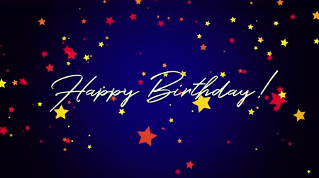 zaproszenie : Animated closeup Happy Birthday text on blue background. Luxury and elegant dynamic style template for holiday