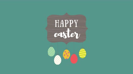 uitnodiging feest : Animated closeup Happy Easter text and eggs on green background. Luxury and elegant dynamic style template for holiday