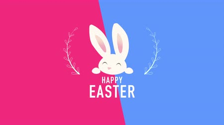 intro template : Animated closeup Happy Easter text and rabbit on blue and red vertigo background. Luxury and elegant dynamic style template for holiday