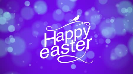 uitnodiging feest : Animated closeup Happy Easter text on purple background. Luxury and elegant dynamic style template for holiday