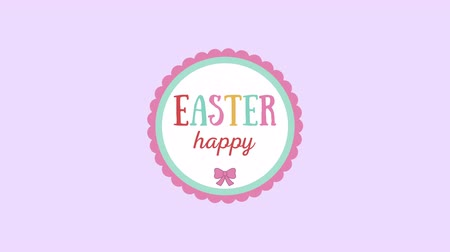 auguri pasqua : Animated closeup Happy Easter text on purple background. Luxury and elegant dynamic style template for holiday