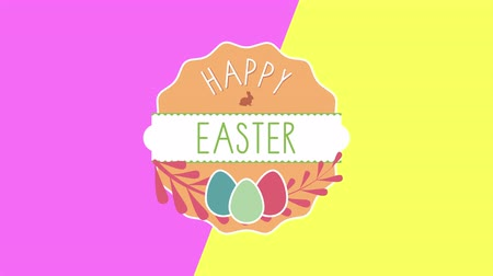 auguri pasqua : Animated closeup Happy Easter text and eggs on pink and yellow vertigo background. Luxury and elegant dynamic style template for holiday