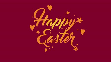auguri pasqua : Animated closeup Happy Easter text on red background. Luxury and elegant dynamic style template for holiday