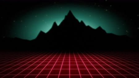 yanılsama : Motion retro abstract background, red grid and mountain. Elegant and luxury dynamic 80s, 90s style template Stok Video