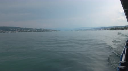 serenidade : View on Zurich lake from ship, Switzerland, Europe. Summer landscape, sunshine weather and blue sky