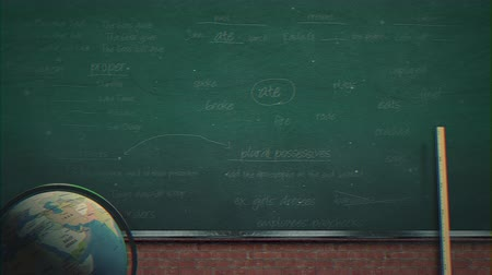 lousa : Closeup mathematical formula and elements on blackboard, school background. Elegant and luxury animation footage of education theme Vídeos
