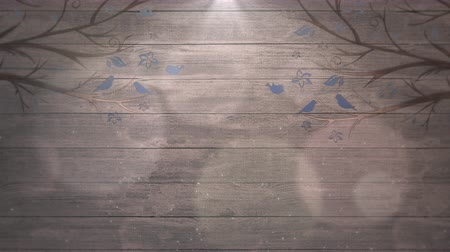 pergament : Closeup motion birds on trees on wood, wedding background. Elegant and luxury pastel style, animation footage