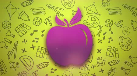 apple icon : Closeup motion of school elements, education background with apple. Elegant and luxury animation footage