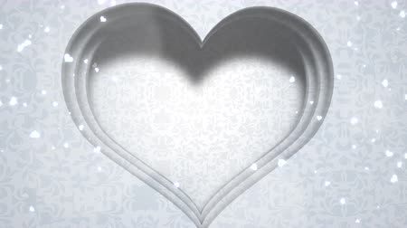 słoneczko : Closeup white hearts of love, wedding background. Elegant and luxury pastel style, animation footage
