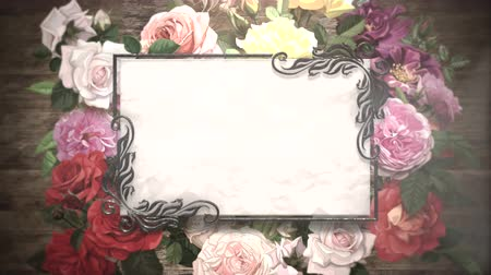ink flower : Closeup vintage frame with flowers motion, wedding background. Elegant and luxury pastel style, animation footage Stock Footage