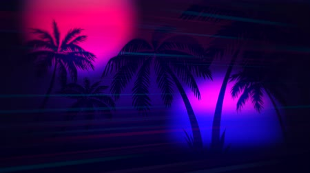 yanılsama : Motion retro summer abstract background, palm trees in night. Elegant and luxury dynamic 80s, 90s style template Stok Video