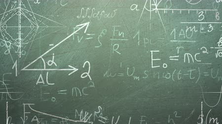 rukopisný : Closeup mathematical formula and elements on blackboard, school background. Elegant and luxury animation footage of education theme Dostupné videozáznamy