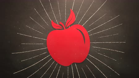 apple sign : Closeup motion of school elements, education background with apple. Elegant and luxury animation footage
