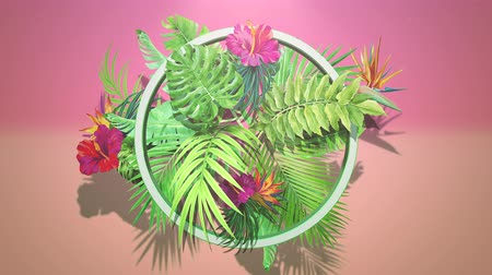 tło retro : Closeup tropical flowers and leaf, summer background. Elegant and luxury dynamic 80s, 90s retro style animation footage