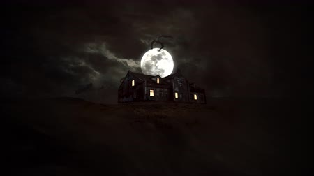 luar : Mystical horror background with the house and moon. Happy holiday abstract backdrop. Luxury and elegant dynamic animation footage of halloween theme
