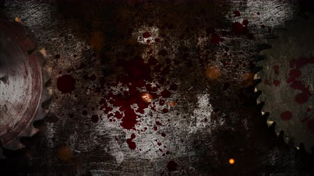 cinematografo : Mystical horror background with electric saw and dark blood. Holiday Halloween, abstract backdrop. Luxury and elegant dynamic animation footage of halloween theme Archivo de Video